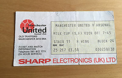Used Ticket MANCHESTER UNITED v ARSENAL League Cup Semi Final 22/2/1983