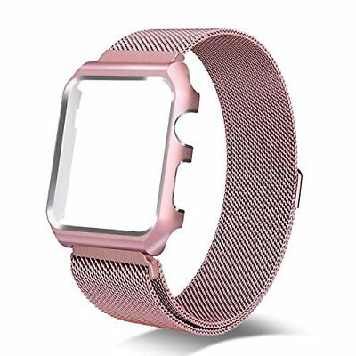 Apple Watch Series 3 Milanese Loop 42MM Replacement Band Metal Case Rose/Gold
