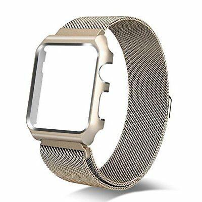 Apple Watch Series 3 Milanese Loop 42MM Replacement Band Metal Case Gold