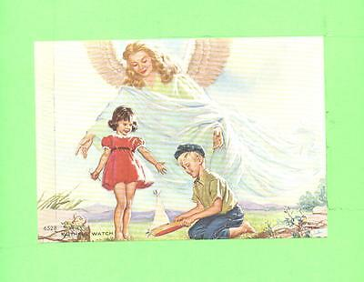 Vintage Calendar Image Faithful Watch Angel Watch Children Boy And Girl