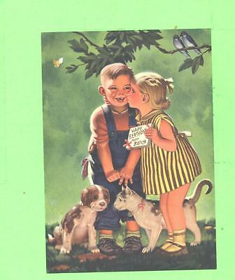Vintage Calendar Image Little Boy Girl With Dog And Cat