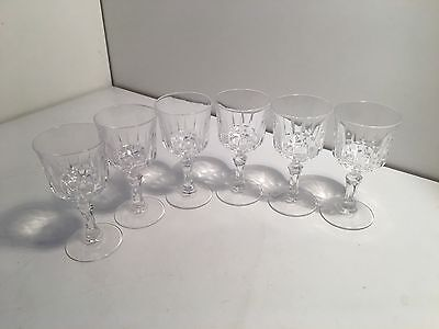 Vintage set of 6 cut crystal port or sherry glasses in excellent condition