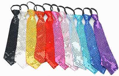 Glitter Sequin Pre-tied Necktie Men Women Boys Girls Zipper Tie Party Costume