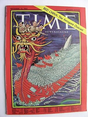 TIME MAGAZINE September 13 1963 Red China Bill Cosby Georges Braque Civil Rights