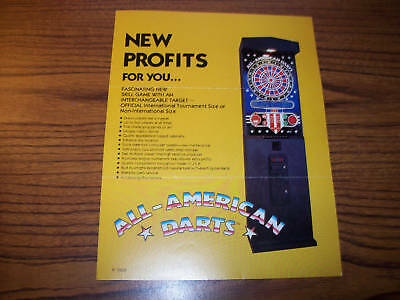 1984 Idea All American Darts Arcade Game Flyer Brochure