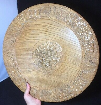 Very Nice Quality Hand Carved Large Wooden Charger by Peter Boex