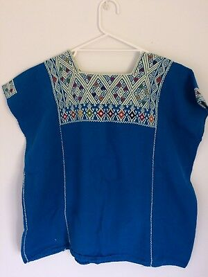 MEXICAN HUIPIL - Embroidered Turquoise Mexican Folk Top, Size L