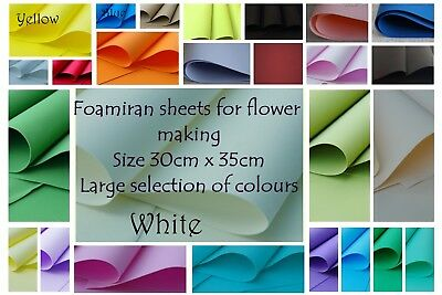 FOAMIRAN FLOWER MAKING FOAM - (300 x 350 x 0.6)mm LOTS OF COLOURS - FREE POSTAGE