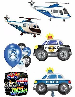 Police Officer Car Balloons Can Be Personalised Party Ware Decoration