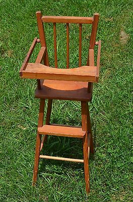 "vintage solid wood doll highchair chair-30"" high"