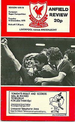 LIVERPOOL v ANDERLECHT 19th DECEMBER 1978 EUROPEAN SUPER CUP