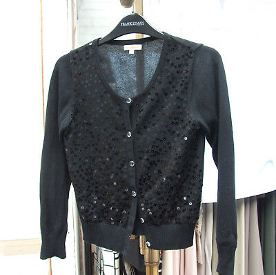 BlueZoo 9-10 year Fabulous Girls Black Smart Cardigan Sequin Long Sleeve Cardi