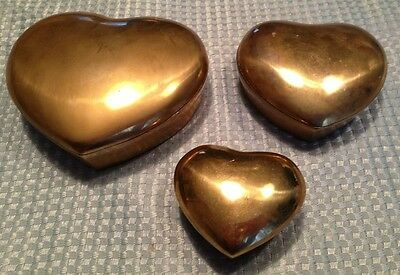 VINTAGE HEART SHAPED Solud BRASS TRINKET/JEWERY BOX  Set Of 3