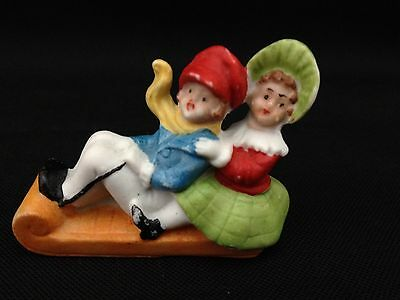 Antique Vintage Germany Bisque Children on Sled Snow Baby