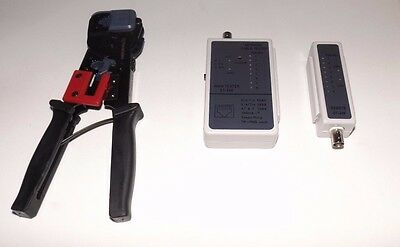 Network Cable Tester & Crimping Tool Combo for RJ-45 RJ-11 & BNC Cables - NIP