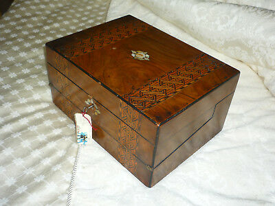 Antique Victorian Walnut Marquetry Writing Slope Box & Key Tunbridge Ware Inlay