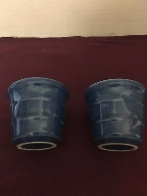 Longaberger Pottery Cornflower Blue Votive Cups Made in USA Set Of 2