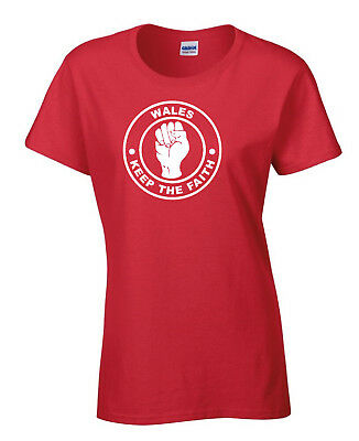 Wales Welsh Fans Themed Ladies T-Shirt - Keep The Faith Northern Soul