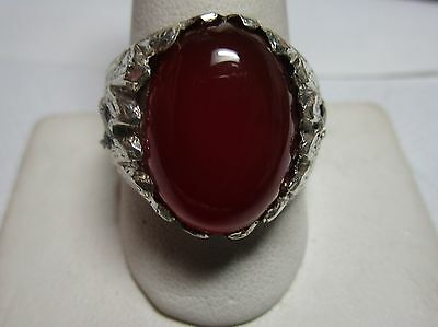 Firey! Genuine 12.4Ct Carnelian With Green Tourmalines-Mens Silver Fine Ring