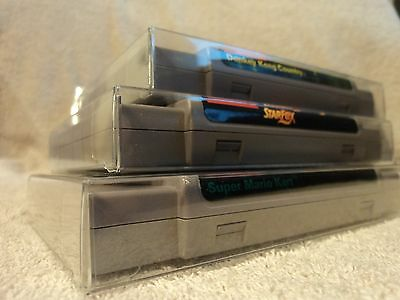 5 SNES Cartridge Protectors New Crystal Clear Cases Sleeves Nintendo Carts Box