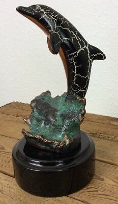 """Leaping 10"""" Signed Donjo Dolphin Sculpture 2000 Edition Statue"""