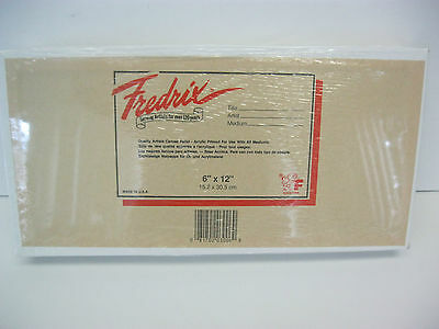 12-Pcs Fredrix Artist Quality Canvas Panels Boards 6X12 Sealed Package