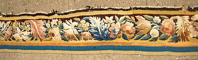 A Great Wool & Silk Tapestry Border With Large Leaves & Flowers