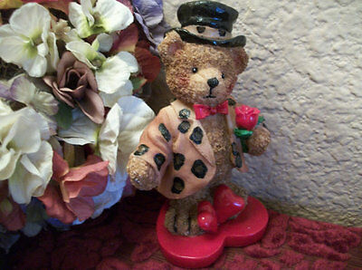 Teddy Bear Figurine Red Hearts Flowers Resin Ornament Valentines Day Decor Gift