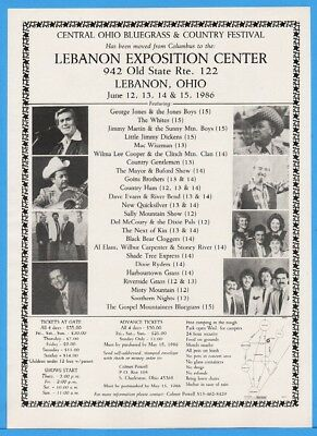 1986 Lebanon Expo OH Bluegrass Fest George Jones Wilma Lee Cooper Whites More Ad
