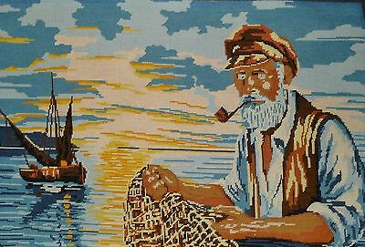 """Vintage Completed Needlepoint  -Old Fisherman And Boat    -  29"""" X 19½"""""""