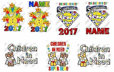 Children in need iron on T-shirt transfer personalised super hero white fabric