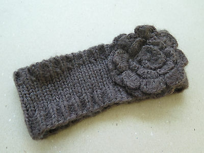 TILLY'S Knit Crochet HeadWrap with Flower, Gray/Taupe, One Size