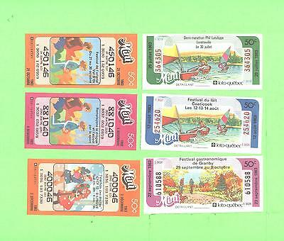 LOT # 2 Loto Quebec lot of 6 used loteries ticket Mini Loto 1983