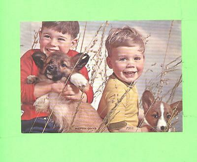 Vintage Calendar Image 2 Little Boy With Nice Dogs