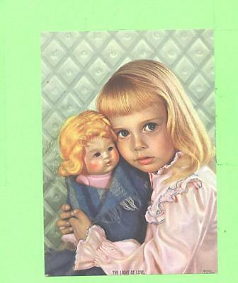 Vintage Calendar Image Little Girl With Doll Art Image