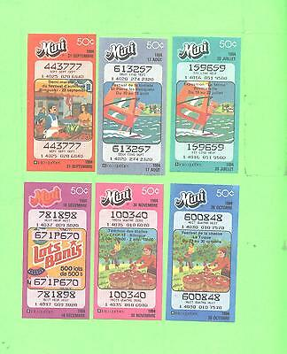 LOT # 2 Loto Quebec lot of 6 used loteries ticket Mini Loto 1984
