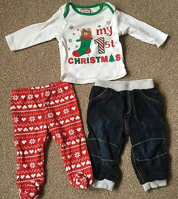 Baby Boy Small Clothing Bundle Size 6-9 Months 7 Items Including Xmas Outfit