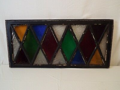 Beautiful Multi-colored Vintage Stained Glass Window Sash