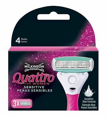 Wilkinson Sword Quattro for Women Sensitive Rasierklingen, 3 Stück