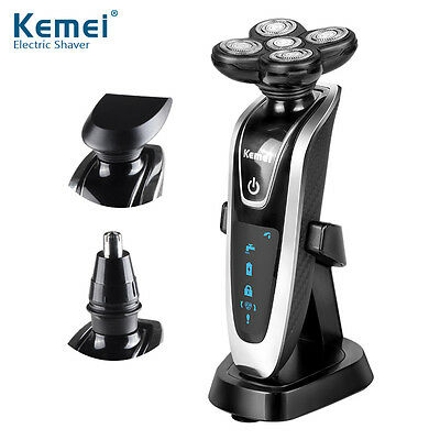 Kemei 3 in1 Washable Mens Rotary Electric Shaver Triple Blade 5D Floating Razor