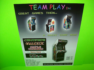 Team Play CENTIPEDE MILLIPEDE MISSILE COMMAND NOS Video Arcade Game Flyer # 3