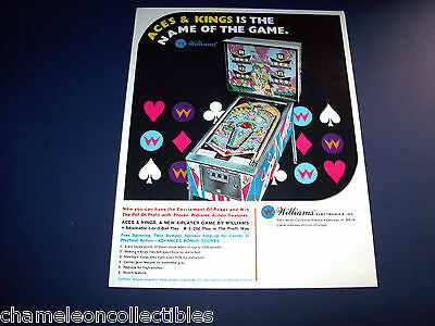 ACES & KINGS By WILLIAMS 1970 ORIGINAL NOS PINBALL MACHINE SALES FLYER BROCHURE