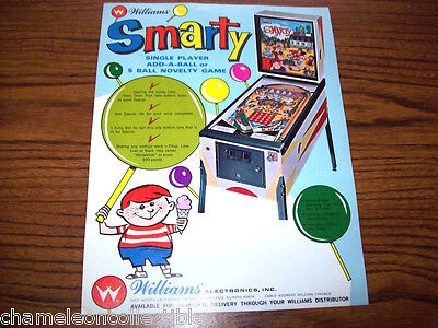Williams SMARTY 1968 Original NOS Flipper Game Pinball Machine Promo Sales Flyer