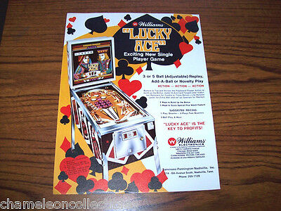 LUCKY ACE By WILLIAMS 1974 ORIGINAL NOS PINBALL MACHINE SALES FLYER
