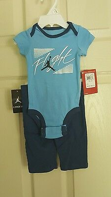 new arrival c29d9 40169 NWT Nike Air Jordan Flight Baby Boys 2PC Blue Bodysuit   Pant Set, ...