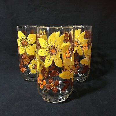 VTG Mid Century Modern Libbey 12 oz Drinking Glasses Set Of 3 Floral Flowers