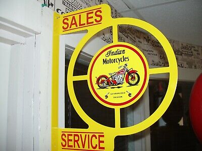 Classic Indian Motorcycle 1950S Era Wall Mount Flange Sign