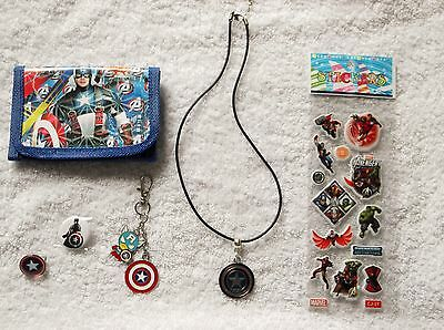 CAPTAIN AMERICA Bundle WALLET BADGE KEYRING NECKLACE PHONE CHARM STICKERS A