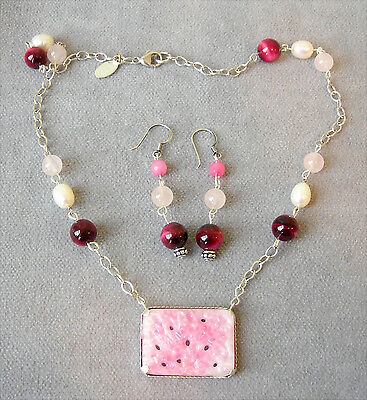 Old->New~VTG~Rare Pink Peking Glass~Silver Necklace~Baroque Pearl~Burgundy Agate