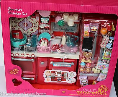 New American Girl Our Generation Doll Kitchen Baking Oven Fridge Cook Mixer Food